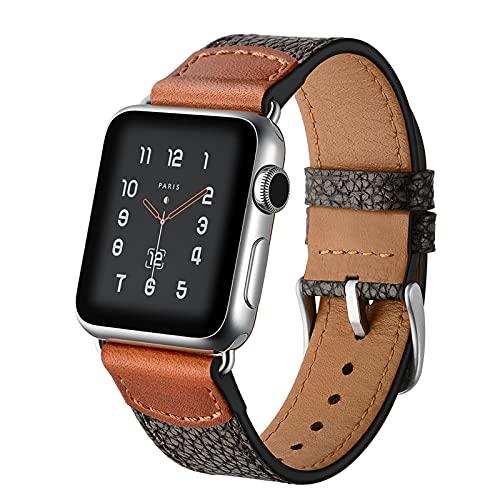 Correas de reloj para Apple Watch Series 1/2/3/4/5/6/SE, compatible con iWatch Band 38 mm 40 cm 42 mm 44 mm, correa de cuero auténtico para hombre, color negro, 38 mm/40 mm