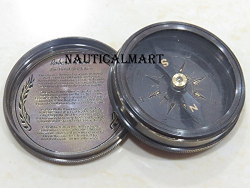 Antique Brass Poem Compass W//Leather Case NauticalMart Pirates Sparrow 2 Pocket