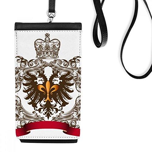 DIYthinker dubbele kop Eagle embleem middeleeuwse ridders van Europa Faux lederen smartphone opknoping portemonnee zwart telefoon portemonnee cadeau