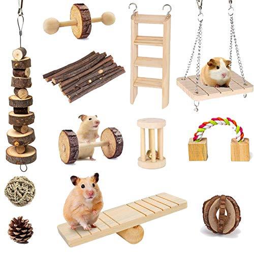 Electomania 10 Stück Kleintier-Kombination Apfelholz Aktivitätsspielzeug Hamster Kauspielzeug Ratten Chinchilla Snacks Spielzeug für Haustiere Bio Naturzubehör
