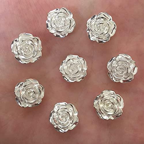 PPuujia 80 resina Kawaii 12 mm perla flor plana cabujón piedra DIY scrapbook cuentas apliques accesorios artesanía (color: plata antigua)