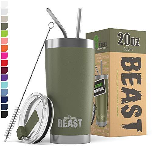 BEAST Edelstahl Becher Vakuumisolierte Tasse Kaffeebecher Doppelwandige Reiseflasche Thermobecher mit Spritzfestem Deckel, Paket mit 2 Strohhalmen, Rohrbürste & Geschenkbox (20oz, Militärgrün)