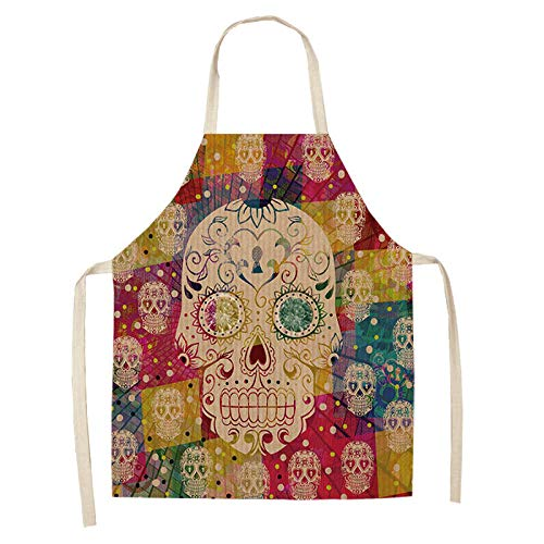 LIUKLAI Delantal de cocina con patrón de calavera para cocinar delantal de lino sin mangas accesorios de limpieza para el hogar para adultos-R1_68x55cm