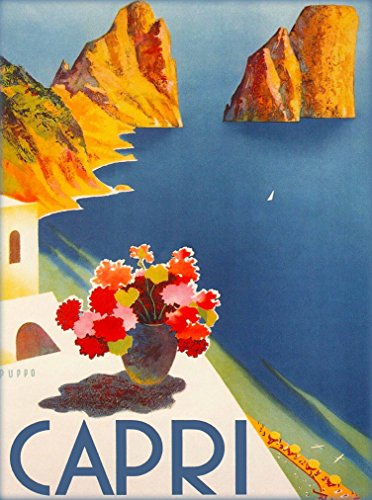 Capri Italy Vintage Italian Europe Art Travel Advertisement Collectible Wall Decor Poster Picture Print - Poster measures 10 x 13.5 inches