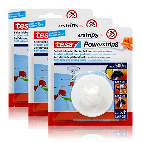 tesa Powerstrips Deckenhaken, weiß, Haltekraft max. 0, 5 kg