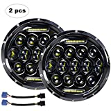LED Headlight for Wrangler AAIWA 7' 75W Round LED Headlamp with Daytime Running Light DRL High Low Beam compatible...