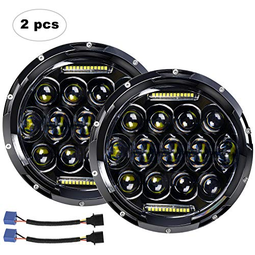 "AAIWA LED Headlight for Wrangler 7"" 75W Round LED Headlamp with Daytime Running Light DRL High Low Beam Compatible with Wrangler JK TJ LJ Motorcycle with H4 H13 Adapter,2PCS"