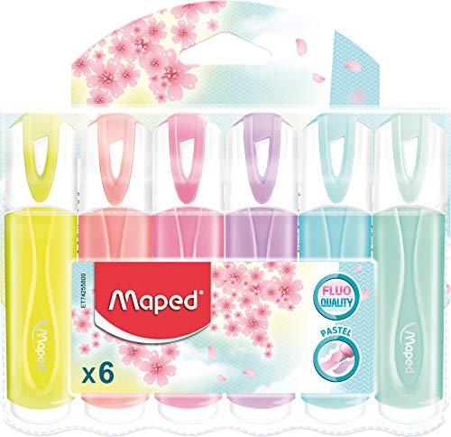 Maped - Textmarker, Leuchtmarker FLUO PEPS PASTELL - x6 Marker - gelb, koralle, rose, flieder, hellblau, mint