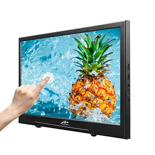 Kenowa Monitor De Pantalla Táctil Portátil De 13,3 Pulgadas 1920x1080 Dual HDMI IPS Monitor De Segunda Pantalla De Computadora para Raspberry Pi PS3 PS4 Xbox PC Cámara De Vigilancia CCTV De Windows