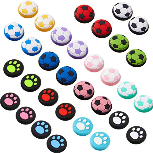 32 Pieces Silicone Thumb Grip Caps Joystick Caps Thumb Stick Caps Analog Stick Covers Button Caps Cat Paw and Football Design Compatible with PS5 PS4 PS3 PS2 Xbox 360 Xbox One Controllers