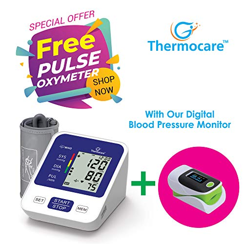 Thermocare Electronic Digital Blood Pressure Monitor with Pulse Oximeter Fingertip, White