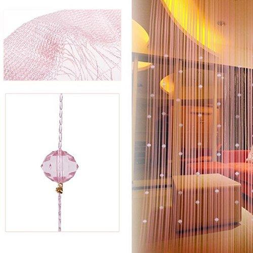 Bluelans® Rideau de fils avec 40 perles pour porte ou fenêtre beauté décoratif séparateur de pièce écran anti-mouches pampille store, rose, 200cm x 100cm