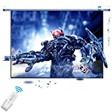 100 inch Motorized Projector Screen with Remote Control No Wrinkles Electric 3D/HD Large Screen for Home Theater Office Classroom Hanging/Wall/Ceiling Mount