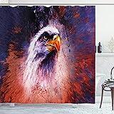 ABAKUHAUS Adler Duschvorhang, Cooles aggressives Tier, mit 12 Ringe Set Wasserdicht Stielvoll Modern Farbfest & Schimmel Resistent, 175x180 cm, Violettblau Orange Rot