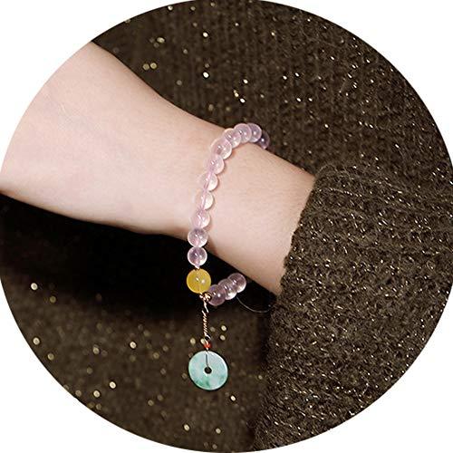 J.Memi's Mujer Pulsera Piedras Preciosas Cristal Rosa Natural con Colgante De Jade Natural Joyeria Aniversario Cumpleaños Regalo para Madre Esposa