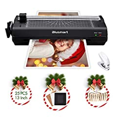 {5-in-1 Deluxe Lamination Set} To fulfill everyday home, school and office lamination needs, the full set includes 1 laminator, 1 corner rounder, 1 hole punch, 1 paper trimmer, 25 laminating pouches(5 A3&A4&A5, 10 A6), 10 photo frames, and 3 book rin...