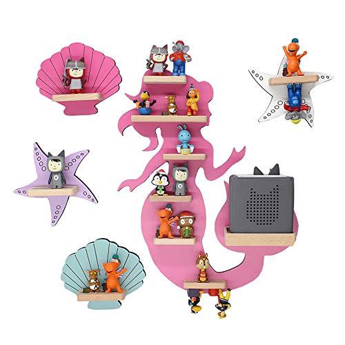 BOARTI das Original Kinder Regal Meerjungfrau Kollektion mit Meerjungfrau pink, 2 Muscheln und 2 Seesternen geeignet für die Toniebox und ca. 43 Tonies - zum Spielen und Sammeln
