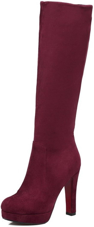 BalaMasa Womens High-Heel Knee-High Zipper Knee-High Platform Claret Suede Boots ABL09810 - 7.5 B(M) US