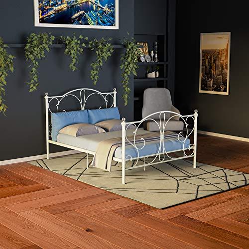 Vida Designs Barcelona Double Bed 4ft6 White & Ultimate Spring Memory Foam Mattress Metal Frame Medium Firmness 9 Inch Cream Upholstery UKFR