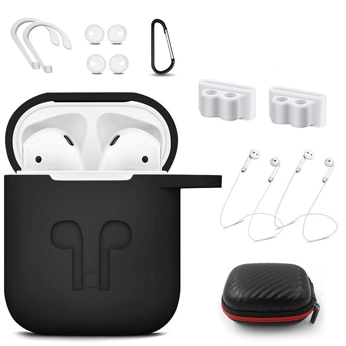 for Airpods Case- Shock Drop Proof air pods Protective Cover Waterproof Soft Skin,Woocon with Strap Protective Silicone Cover with,Watch Band Airpods Holder/Ear Hooks/Keychain//Carrying Box (Black)