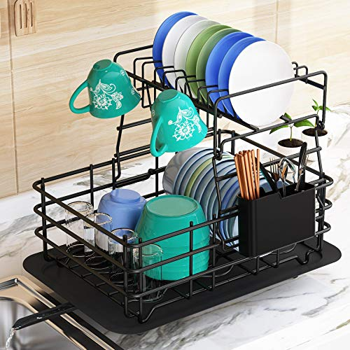 Dish Drying Rack, 1Easylife Dish Drainer for Kitchen Rustproof Dish Rack and Drainboard Set (Black)