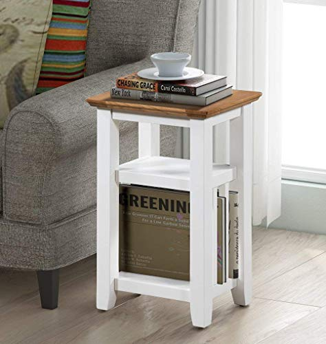 Hallowood Clifton Wooden Compact Small Narrow Side Table | Lamp/Coffee/Telephone/Bedside/Console Stand with Cream Magazine Rack, Off White Painted Body with Light Oak Top, CLF-MAG550