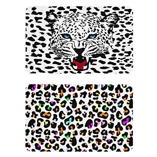 Naanle Imanes de nevera con estampado animal de leopardo, juego de 2 imanes para el armario, placa magnética para el hogar, cocina, gabinetes de oficina, lavadora, imanes decorativos de regalo