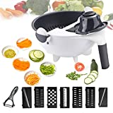 New Magic Vegetable Cutter 9 in 1 Multifunction Vegetable Cutter with Drain Basket Kitchen Veggie...