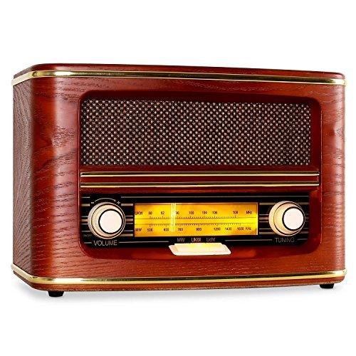 AUNA Belle Epoque 1905 - Radio AM/FM rétro, Affichage éclairé de la Bande de fréquence, Antenne Filaire, Boîtier Arrondi en Bois, Protection en Tissu des Enceintes, Dorures décoratives, Bois