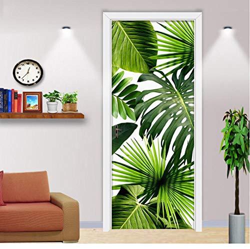 3D Mural puerta Fondo pantalla cristal poster paisaje armario Decoración Hogar Vinilo Hoja verde nfantiles Guardería Niños extraíble Sala Estar Espacio 77X200CM
