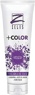 Mascarilla de Color para el Pelo - Violeta - 200 ml - Mascarilla Acondicionadora - Queratina y Aceite de Argán - Potencia el Color Desgastado o Crea Tonos Fantasía - Uso Profesional - Zelos +Color