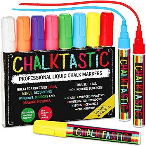 Chalk Markers by Fantastic CHALKTASTIC Best for Kids Art, Chalkboard Labels, Menu Board Bistro Boards, 8 Glass Window Markers, non-toxic Erasable Liquid Pens Chisel or Fine Tip, Neon Colors plus White