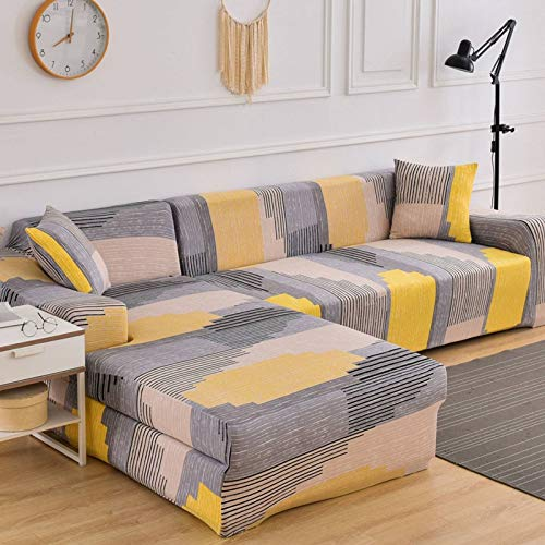 HKPLDE Stretch Sofa Slipcover 3 Seat Spandex Pattern Couch Covers Dog Cat Pet Slipcovers Furniture Protectors, Machine Washable-3 seater(190-230cm)-H