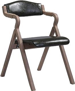 Silla De Comedor De Madera Moderna,silla Plegable De Madera Con Asiento De Cuero Mid Century Silla De Acento Para La Cocina De La Vida Silla Lateral Del Dormitorio Negro A 49x59x77cm(19x23x30inch)