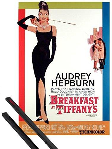 1art1 Desayuno con Diamantes Póster (91x61 cm) Audrey Hepburn Y 1 Lote De 2 Varillas Negras