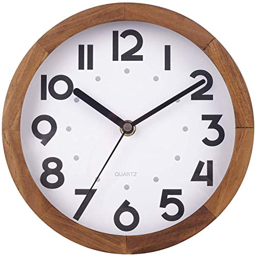 BEW 8 Inch Small Wooden Wall Clock, Vintage Retro Decorative Wall Clock, Silent Non-Ticking Analog Round Hanging Clock for Bedroom, Living Room, Kitchen, Dining Room