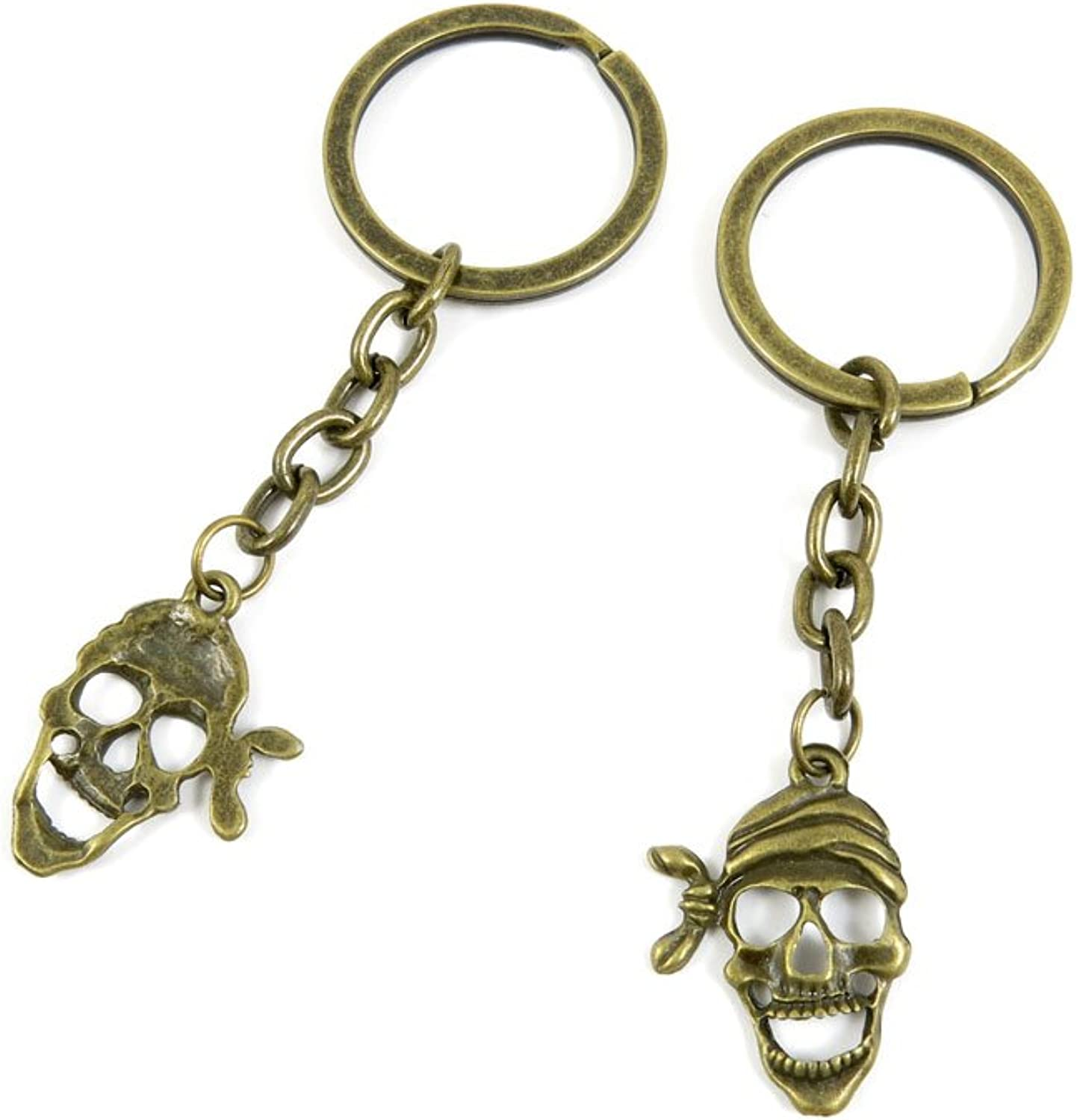 100 PCS Keyrings Keychains Key Ring Chains Tags Jewelry Findings Clasps Buckles Supplies O8PC7 Pirate Skull
