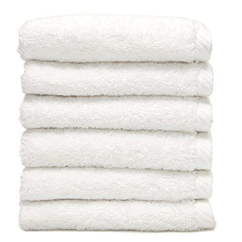 Linum Home Textiles Soft Twist Washcloths 100% Authentic Turkish Cotton Luxury Spa Hotel Collection - Set of 6, White