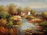 Impresión en HD Paisaje abstracto del jardín mediterráneo Pintura al óleo Cartel en lienzo Arte Decoración de la sala 60x80cm