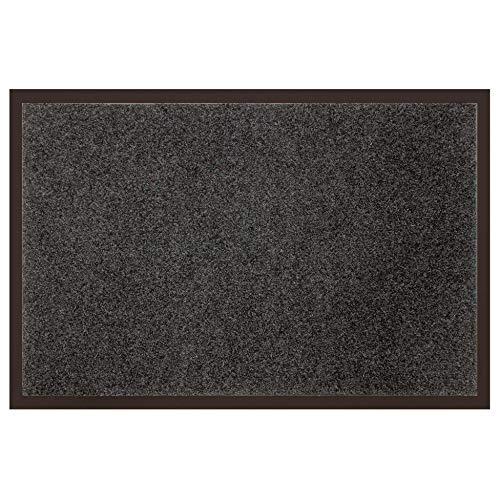 douceur d'intérieur tapis d'entree rectangle 40x60 cm anti-poussiere telio gris