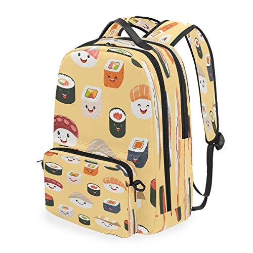 RXYY Japanese Food Emoticorn Emoji Backpack Detachable College Student School Shoulder Computer Bags Backpacks Crossbody Laptop Bag Travel Bag Daypack Hiking for Girls Boys Women Men Kids