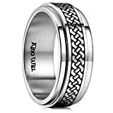 King Will Intertwine 8mm Mens Stainless Steel Wedding Ring Spinner Statement Band Knot Design High Polished 11