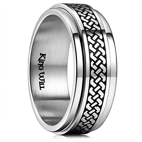 King Will Intertwine 8mm Mens Stainless Steel Wedding Ring Spinner Statement Band Knot Design High Polished 9