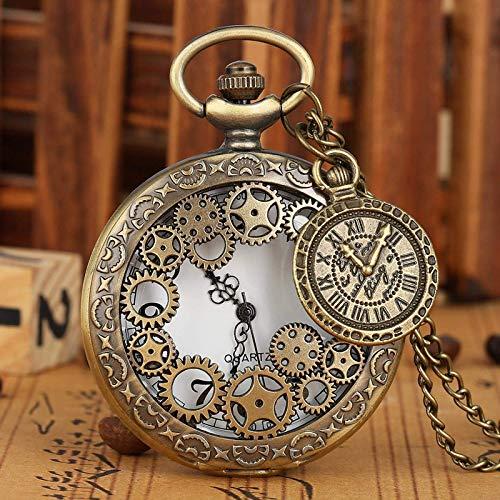 J-Love Vintage Cobre Antiguo Steampunk Bronce Engranaje Hueco Collar de Cuarzo Colgante Reloj Hombres Mujeres con Accesorio