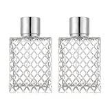 ConStore 2pcs 100ml Square Grids Carved Perfume Bottles Clear Glass spray bottle Empty Refillable fine mist Atomizer Portable Travel Cologne Atomizers Fragrance Containers Sprayer for Party Home