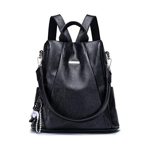 Tisdaini Bolsos mochila mujer moda casual marca colegio viaje escolares Bolsos bandolera ES916 Negro