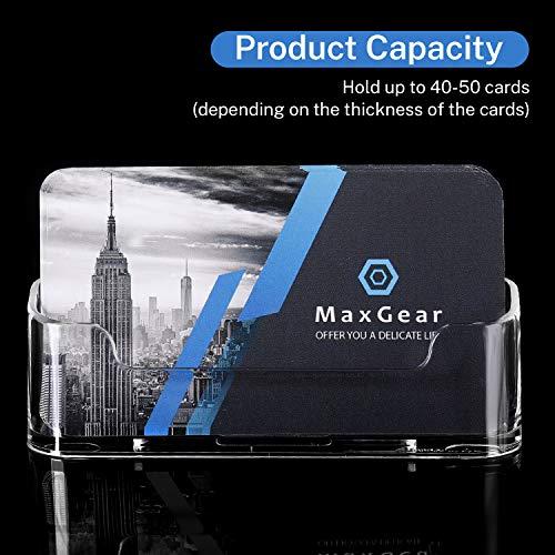 MaxGear Clear Acrylic Business Card Holder Display Office Business Card Holder Business Card Stand Business Card Desk Holder, Fits 30-50 Business Cards, 6 Pack Photo #4
