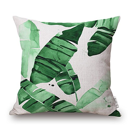 Elviros Dekorativ Baumwoll Leinen Mix Kissenbezug 45 x 50cm - Tropische Blätter