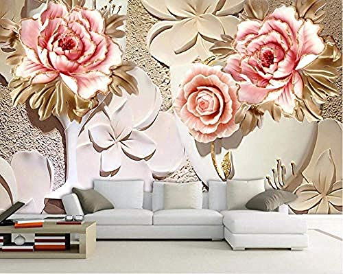 XHXI Chinese Style Embossed Pink Peony Modern Decorative Hd Art Print Poster Picture Photo for Living Room Wall Decorati 3D Wallpaper Paste Living Room The Wall for Bedroom Mural border-350cm×256cm