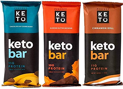 Perfect Keto Bars Snacks - Low Carb Diet Friendly Food with Protein, Coconut Oil, Collagen, No Added Sugar - Sweet Treat in Variety of Flavors - Individual Packs for Travel, Hiking - 1 Box, 6 Bars